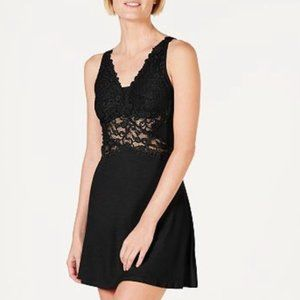 NWT!Inc Blk Ultra Soft Lace Knit Chemise Nightgown
